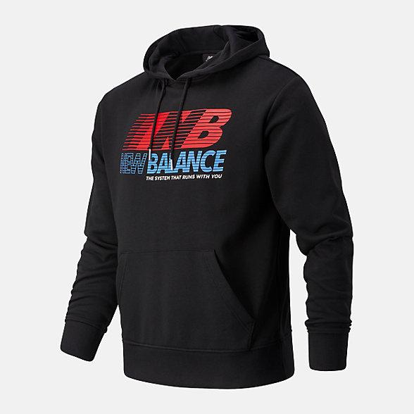 New Balance 男款印花连帽卫衣, AMT03508BK