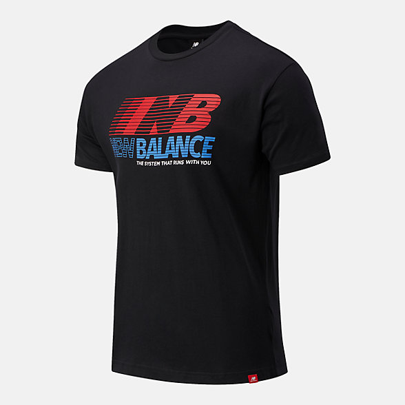 New Balance 男款字母印花短袖T恤, AMT03513BK