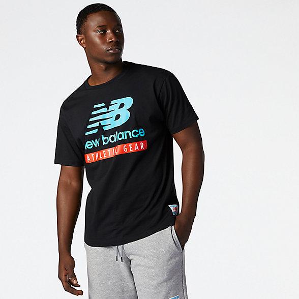 New Balance 男款圆领印花logo短袖T恤, AMT11517BK