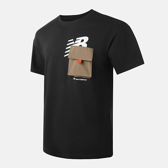 New Balance 男女同款休闲口袋短袖T恤, AMT12355BK