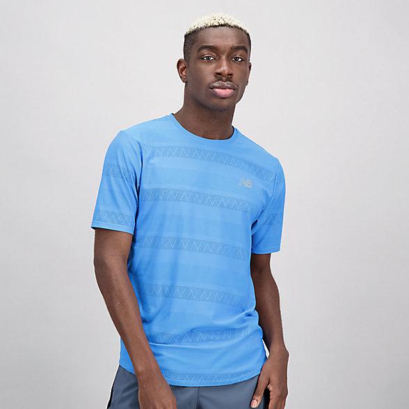 New Balance 男款冰感提花运动短袖T恤, AMT13277HLU