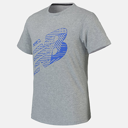 New Balance Boys Graphic Heather Tech Tee, ABT01102AG image number null