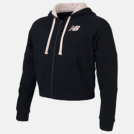 New Balance Girls Achiever FZ Hoodie, AGJ01502BK image number null