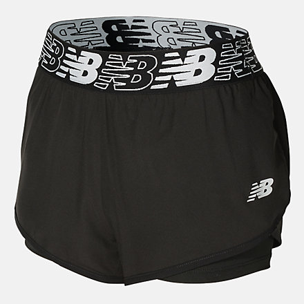 New Balance GIRLS WOVEN 2IN1 SHORT, AGS113143BK image number null