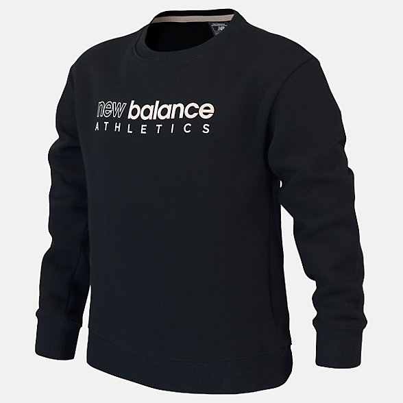 New Balance Girls Essentials Dropped Hem Crew, AGT01503BK