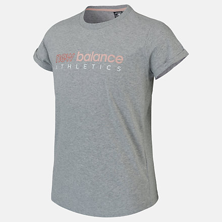 New Balance Girls Athletics Boyfriend Tee, AGT01505AG image number null