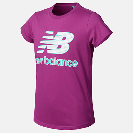 New Balance Girls Essentials Grid Tee, AGT03503JJL image number null