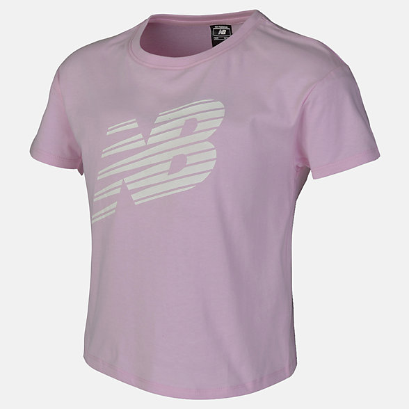 New Balance Girls Print Heather Short Sleeve, AGT73391WPN