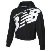 New Balance Girls Classic Crop Hoodie, Black with White