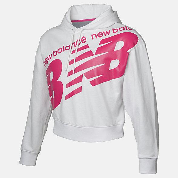 New Balance Girls Classic Crop Hoodie, AGT93505WT