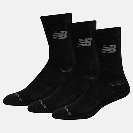 New Balance Performance Cotton Cushioned Crew Socks 3 Pair, LAS95363BK image number null