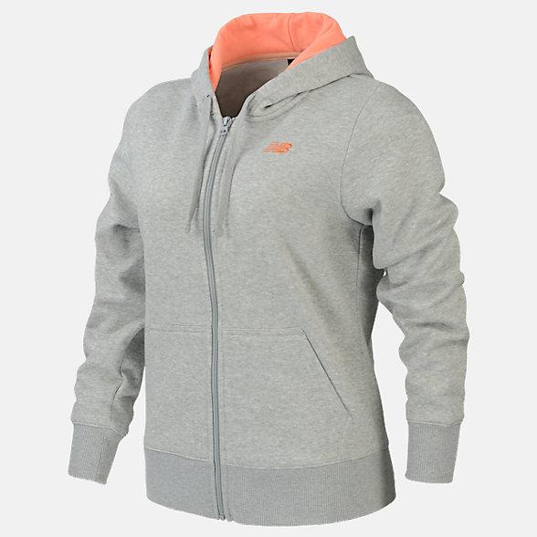 New Balance Volume Fleece Full Zip Hood, RWJ0127AG