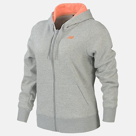 New Balance Fleece Full Zip Hood, RWJ0127AG image number null