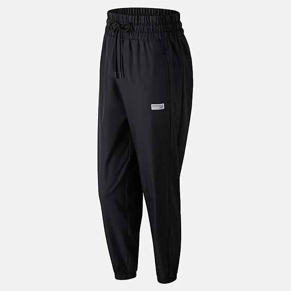 New Balance 女款梭织长裤 舒适面料 运动休闲, AWP91569BK