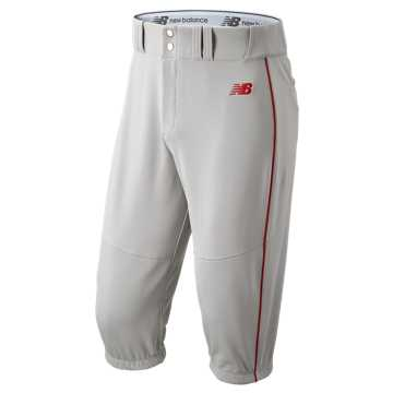 New Balance Charge Baseball Piped Knicker, Grey with Red