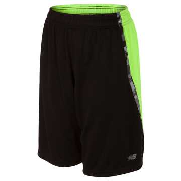 New Balance Fashion Performance Short, Black with Lime Glo