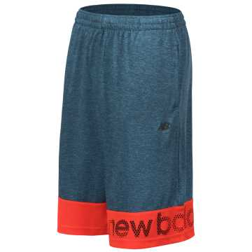 New Balance Performance Short, Sea Smoke with Alpha Orange