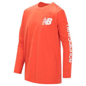 New Balance Long Sleeve Graphic Tee, Coral Glow