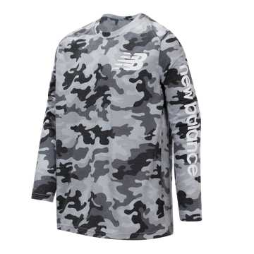 New Balance Long Sleeve Tee, Black with Camo Green