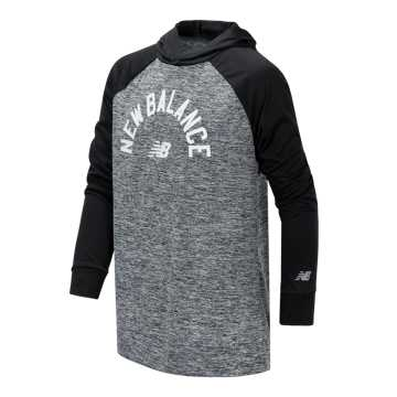 New Balance Long Sleeve Hooded Performance Top, Black Heather