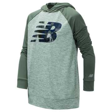 New Balance Long Sleeve Hooded Performance Top, Slate Green with Cedar Quartz