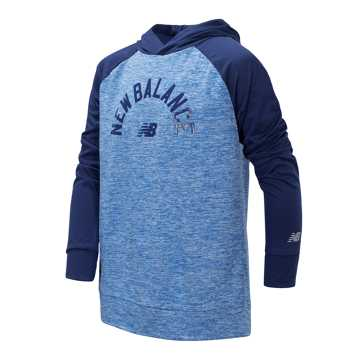 New Balance Long Sleeve Hooded Performance Top, Techtonic Blue with Lapis Blue