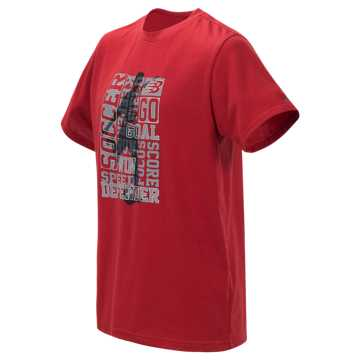 New Balance Short Sleeve Graphic Tee, Tempo Red with Silver Metallic