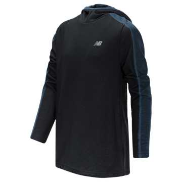 New Balance Hooded Pullover, Black with Lapis Blue