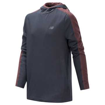 New Balance Hooded Pullover, Thunder with Tempo Red