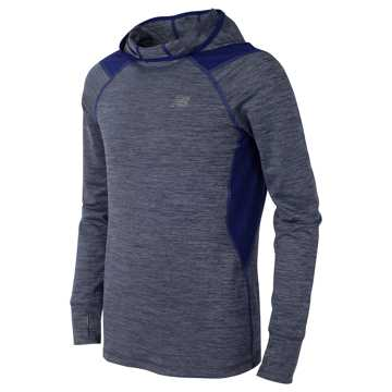 New Balance Hooded LS Performance Tee, Steel with Basin