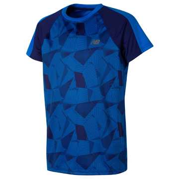 New Balance SS Printed Performance Tee, Basin with Electric Blue