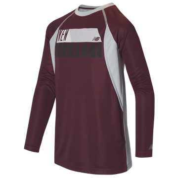 New Balance Long Sleeve Performance Tee, Burgundy