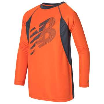 New Balance Long Sleeve Performance Tee, Orange