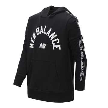 New Balance French Terry Hooded Pullover, Black