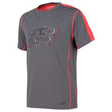 New Balance Short Sleeve Performance Tee, Gunmetal with Flame