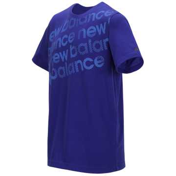 New Balance Short Sleeve Graphic Tee, Neon Aqua Blue