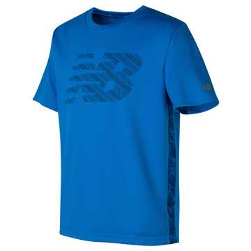 New Balance Printed Short Sleeve Performance Tee, Laser Blue