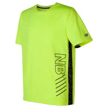 New Balance Printed Short Sleeve Performance Tee, Hi-Lite