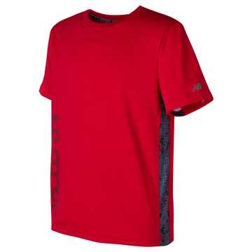 New Balance Printed Short Sleeve Performance Tee, Team Red