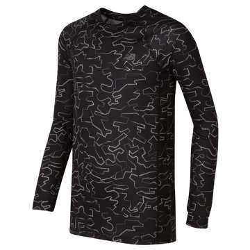 New Balance Printed Long Sleeve Performance Top, Black with White