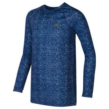 New Balance Printed Long Sleeve Performance Top, Blue with White