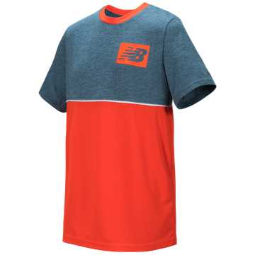 New Balance Short Sleeve Pieced Performance Tee, Sea Smoke with Alpha Orange