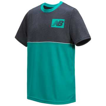 New Balance Short Sleeve Pieced Performance Tee, Thunder with Neon Aqua Blue