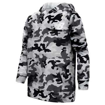 New Balance Graphic Hoodie, Black with Camo Green