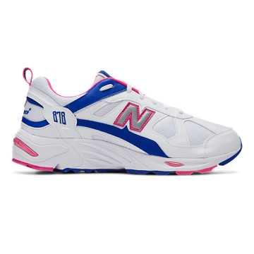 New Balance 878系列男款复古休闲运动鞋, 白色