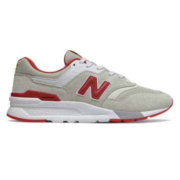 New Balance 997H系列男女同款復古休閑鞋, 米色/紅色/白色