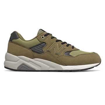 New Balance 580系列男款复古休闲鞋, 军绿色