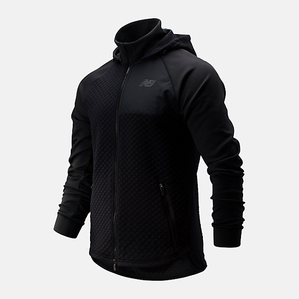 New Balance 男款保暖连帽运动外套, AMJ93001BK