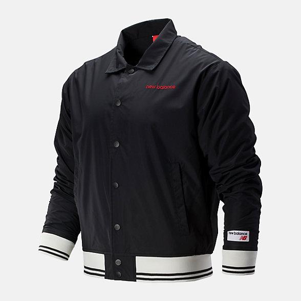 New Balance 男款刺绣LOGO梭织夹克外套, AMJ93508BK