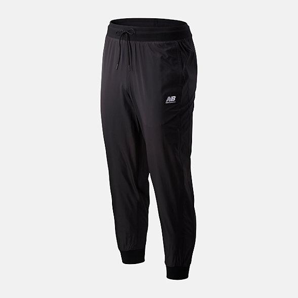 New Balance 男款抽绳束腰梭织长裤, AMP01506BK